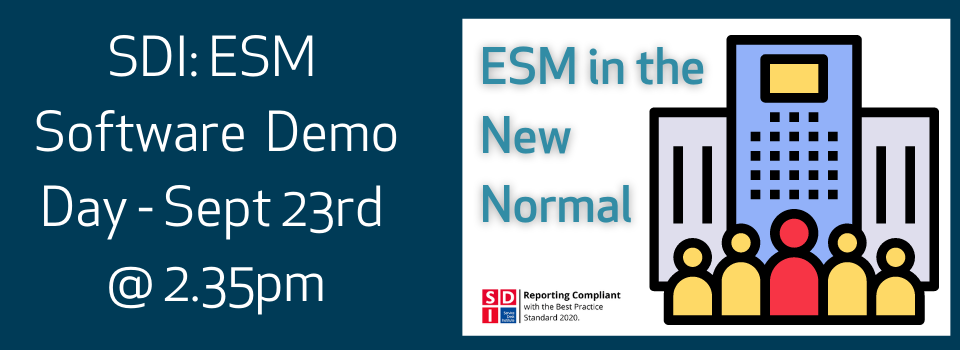 23rd Sept SDI Demo Day: ESM in the New Normal